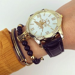 Ceas dama negru din piele ecologica cu model