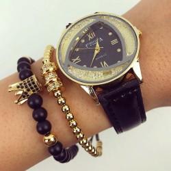 Ceas dama negru elegant din piele cologica