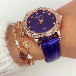 Ceas dama albastru elegant cu pietricele din piele co
