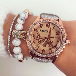 Ceas dama argintiu elegant din piele ecologica cu pietricele