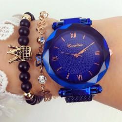 Ceas dama albastru elegant cu sistem magnet