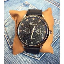 Ceas barbatesc negru din piele ecologica elegant clasic