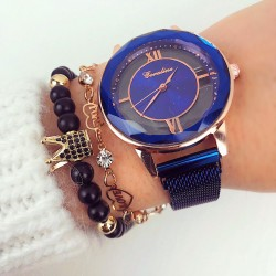 Ceas dama albastru cu sistem magnet