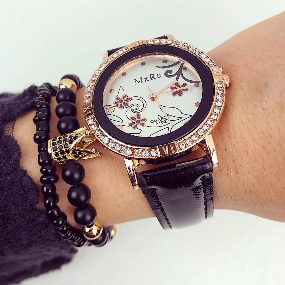 Ceas dama negru elegant din piele ecologica