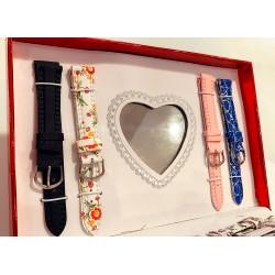 Set Cadou 2 Ceasuri Dama + 9 curele si 9 cadrane colorate + cutie premium