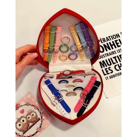 Set Cadou Ceas Dama + 10 curele si 13 cadrane colorate + cutie premium