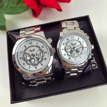 Set CADOU Ceasuri El & Ea culoare argintiu-alb + Cutie inclusa