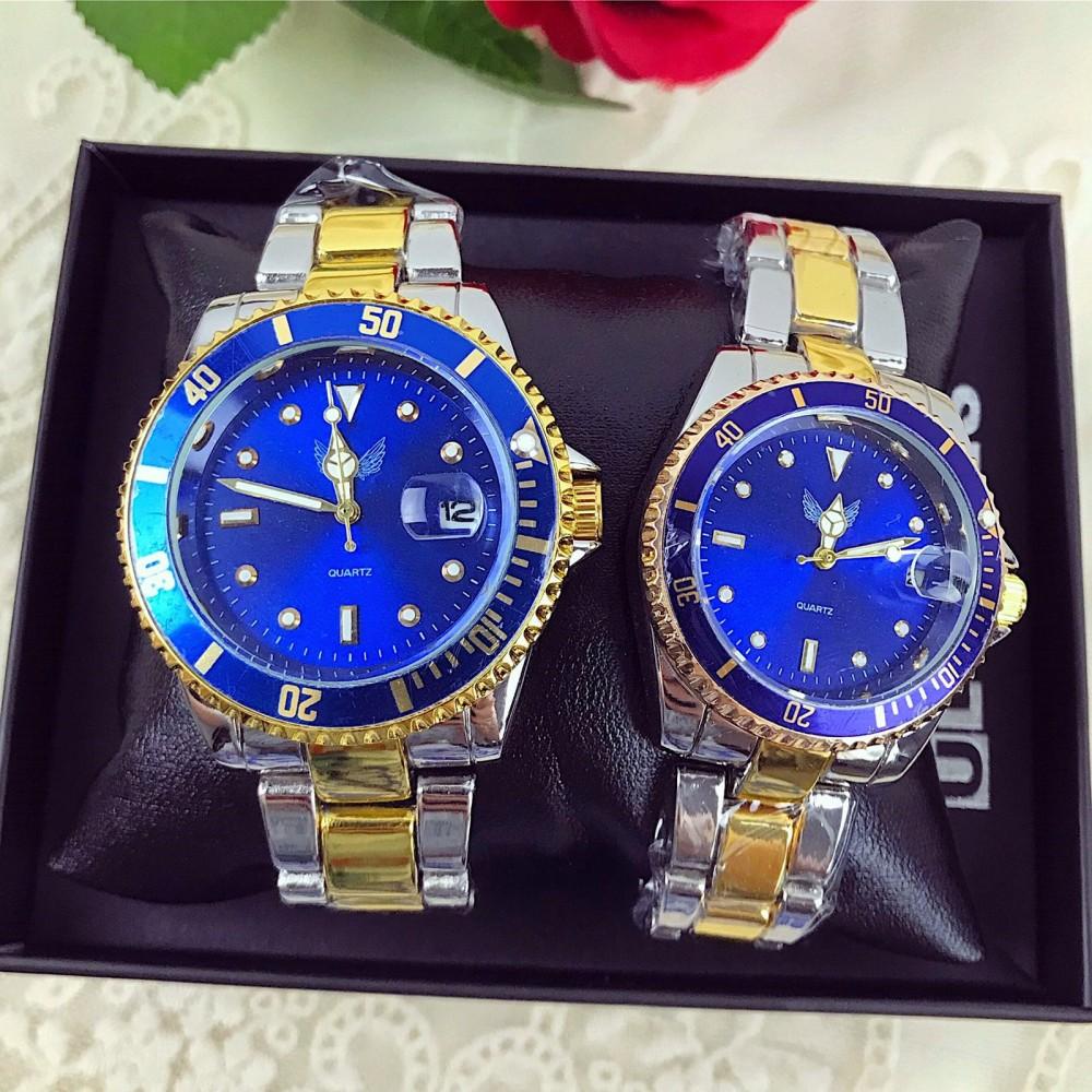 Set CADOU Ceasuri El & Ea culoare auriu cu albastru + Cutie inclusa