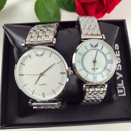 Set CADOU Ceasuri El & Ea culoare argintie + Cutie inclusa