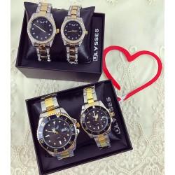 Set CADOU Ceasuri El & Ea culoare argintiu-negru + Cutie inclusa