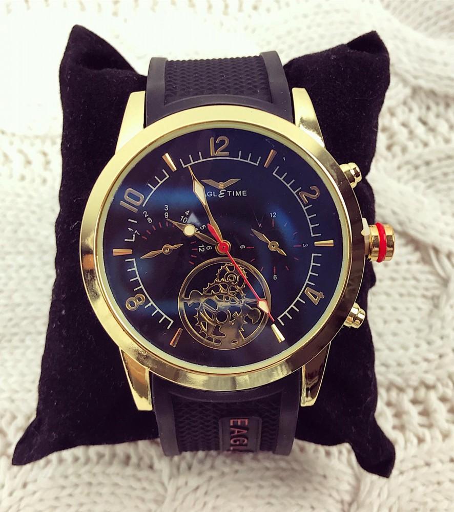 Ceas barbatesc elegant negru cu auriu din silicon
