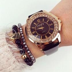 Ceas dama negru cu auriu din piele lucioasa