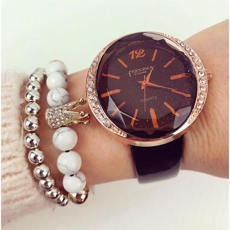Ceas dama negru elegant din piele lucioasa