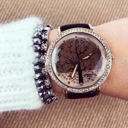 Ceas dama negru cu pietricele elegant