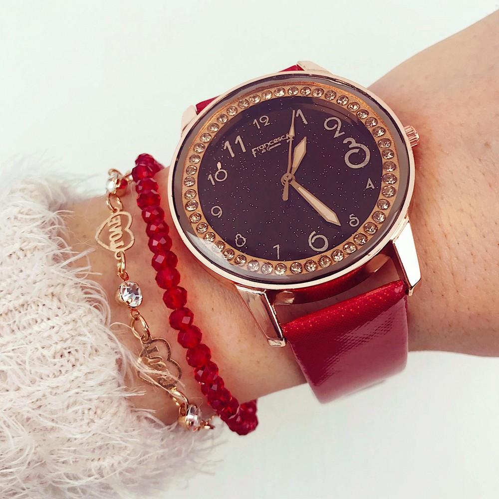 Ceas dama elegant rosu cu pietricele in cadran