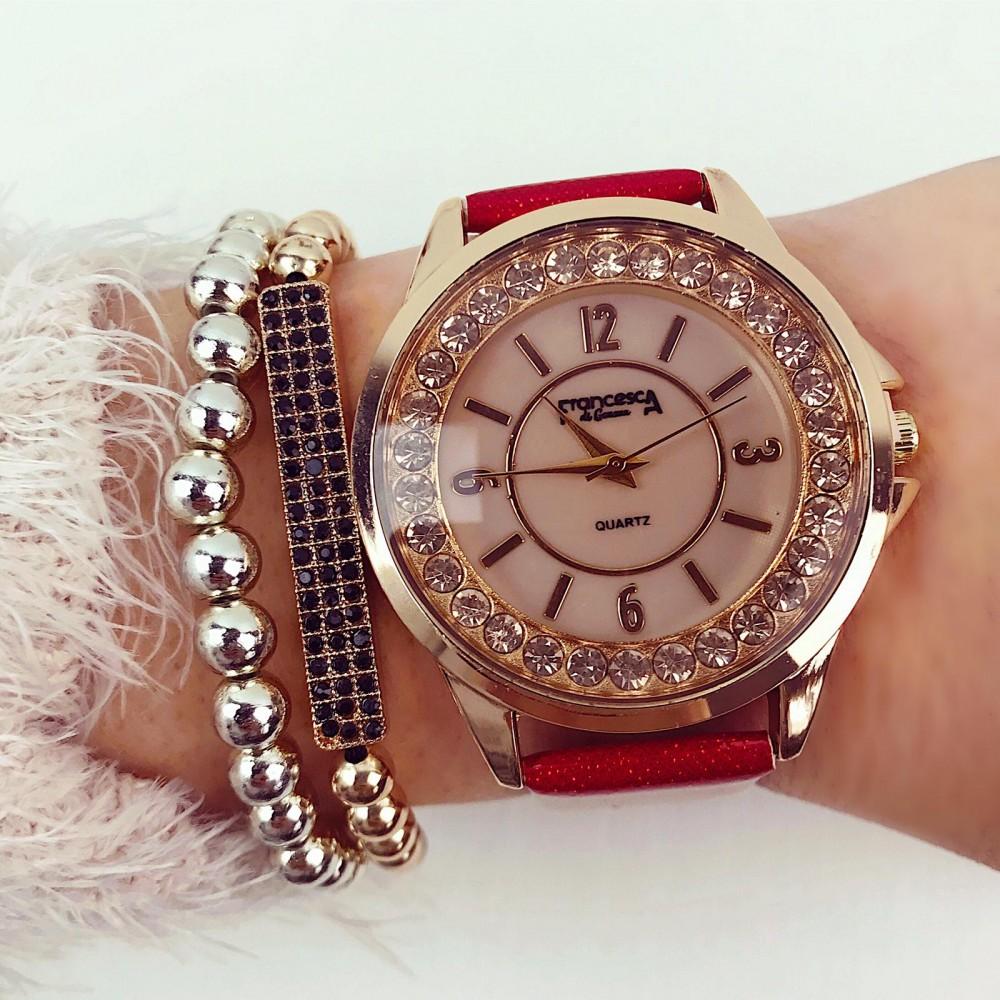 Ceas dama rosu elegant cu pietricele