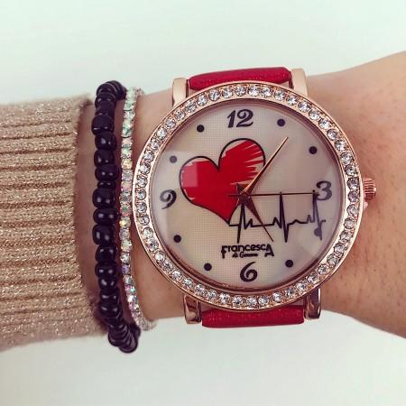 Ceas dama elegant rosu cu inimioara