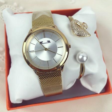 Set ceas dama auriu elegant + bratara + cutie