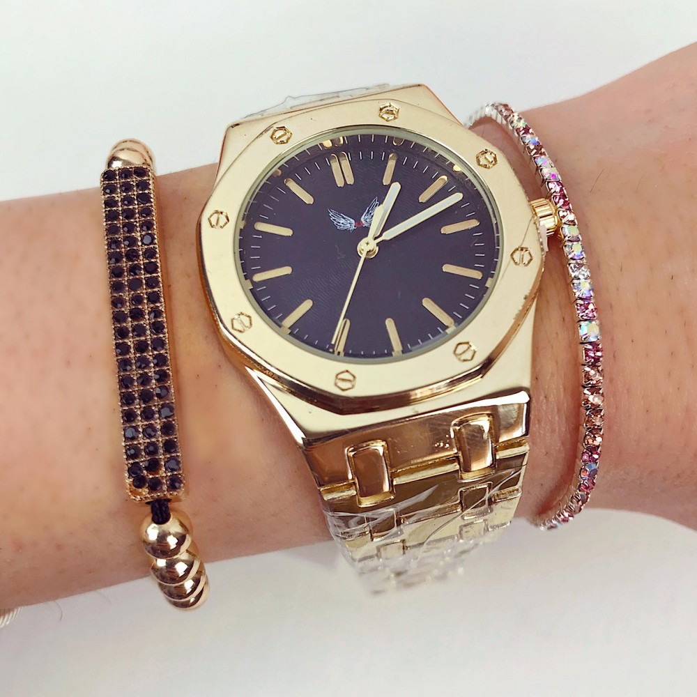 Ceas dama auriu elegant cu cadran negru