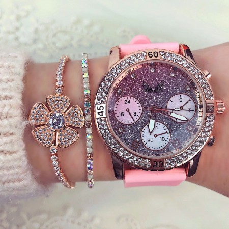 Ceas dama roz din silicon elegant cu pietricele