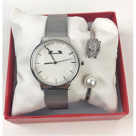 Set Ceas dama argintiu elegant + bratara + cutie