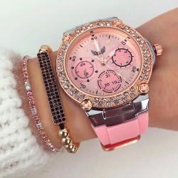 Ceas dama elegant roz cu pietricele