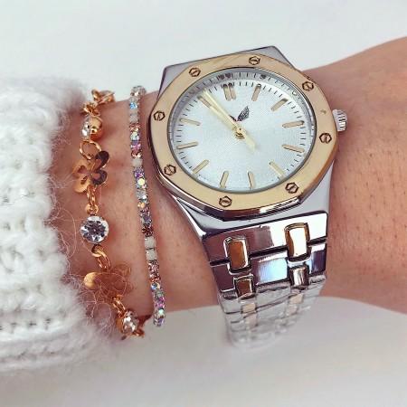 Ceas dama auriu cu argintiu elegant