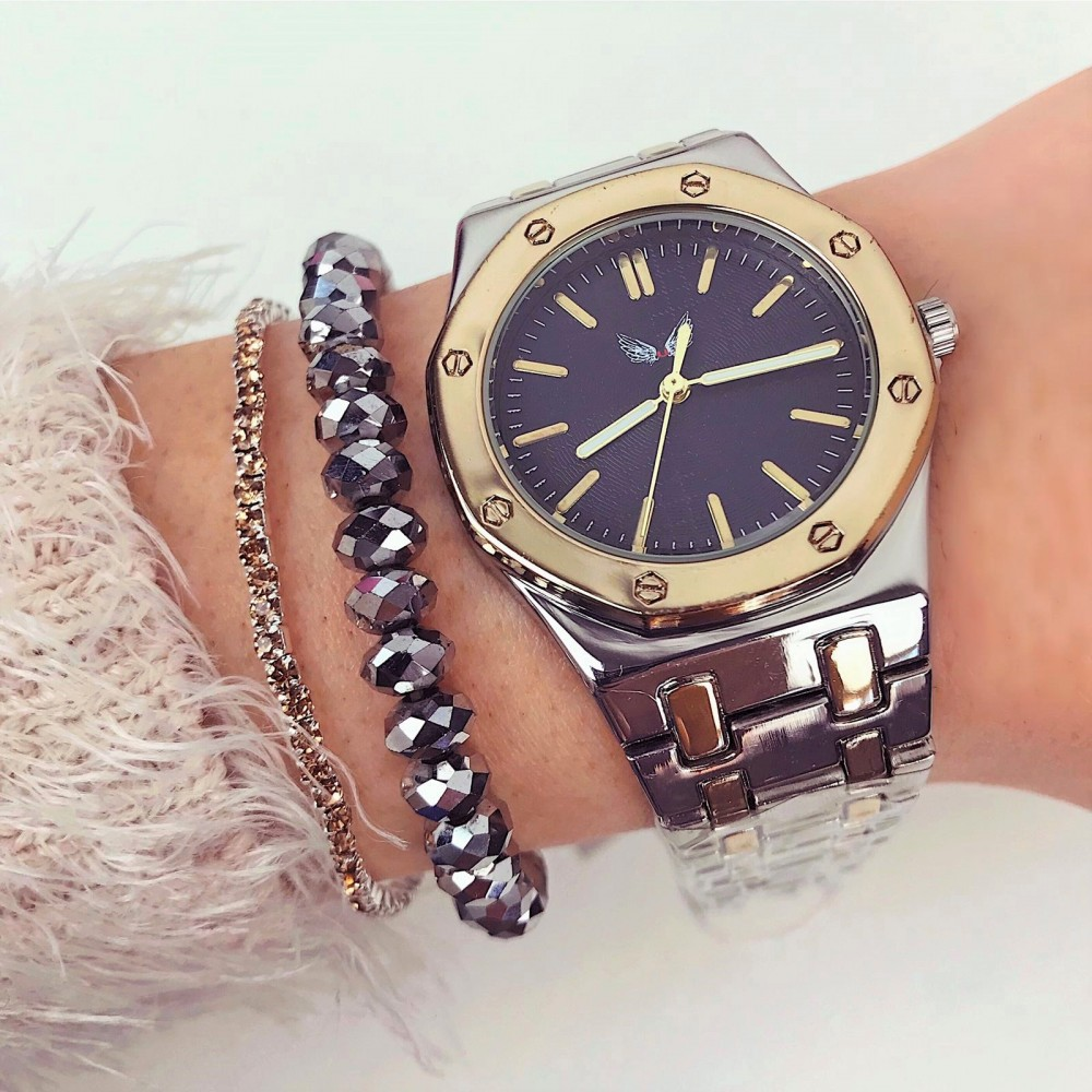Ceas dama elegant argintiu auriu cu cadran negru