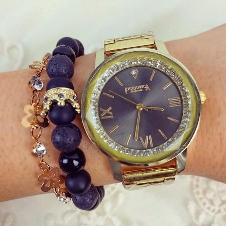 Ceas dama casual elegant auriu Diamond