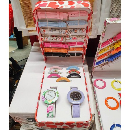 Set Cadou Ceas Dama + 7 curele si 7 cadrane colorate + cutie premium