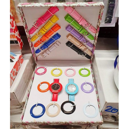 Set Cadou Ceas Dama + 10 curele si 10 cadrane colorate + cutie premium