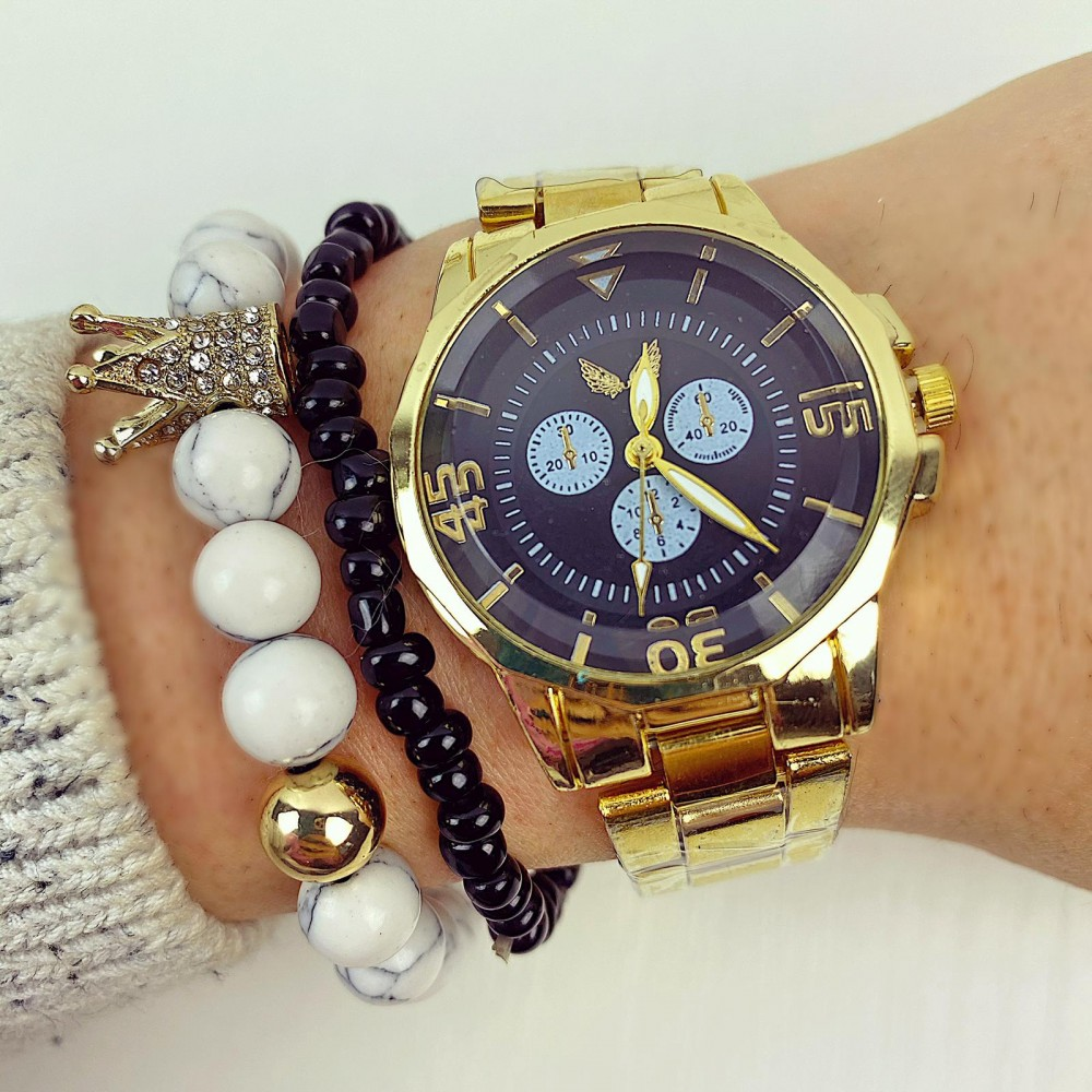 Ceas dama elegant auriu cu cadran negru