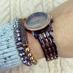 Ceas dama negru cu aramiu elegant