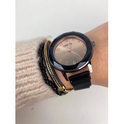 Ceas dama elegant negru cu cadran rose sistem de inchidere magnet