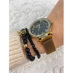 Ceas dama auriu casual cu magnet si cadran negru cifre