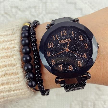 Ceas dama negru casual cu magnet si cadran cifre