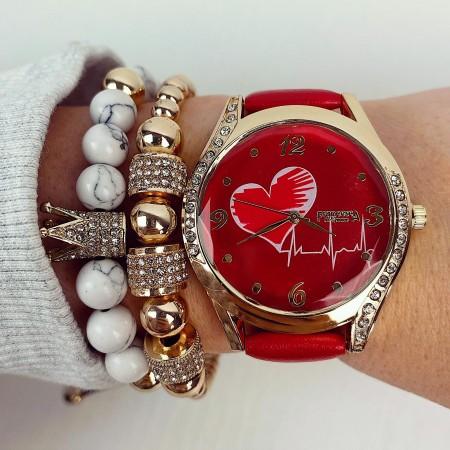 Ceas dama elegant rosu cu inima si cristale