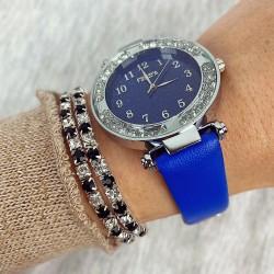 Ceas dama elegant argintiu si curea albastra piele eco
