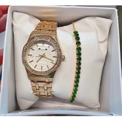 Ceas dama elegant auriu cu bratara verde premium cu pietricele