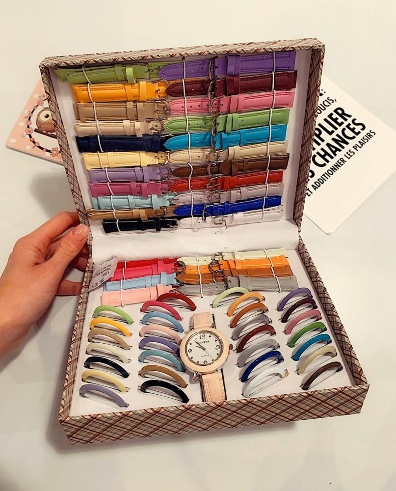 Set Cadou Ceas Dama + 30 de curele si 30 cadrane colorate + cutie premium