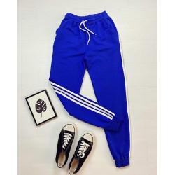 Pantaloni dama casual albastru royal cu dungi albe