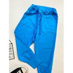 Pantaloni dama casual-sport  albastri cu buzunare