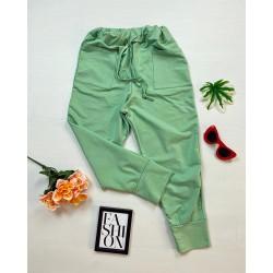 Pantaloni dama casual-sport de culoare verde cu buzunare