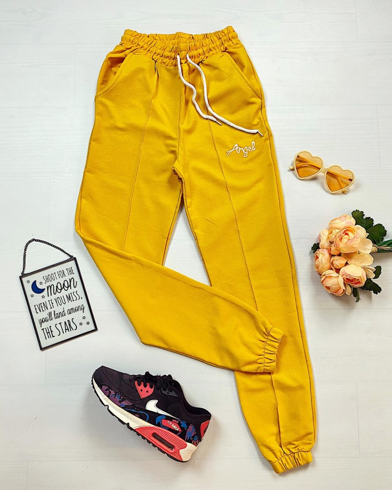Pantaloni dama casual-sport galbeni Angel
