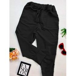 Pantaloni dama casual-sport negri cu buzunare