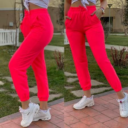 Pantaloni dama casual corai lungi cu buzunare