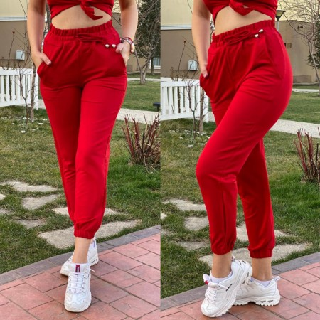Pantaloni dama casual rosii lungi cu buzunare