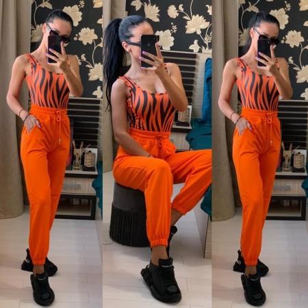Pantaloni dama casual portocaliu neon lungi cu buzunare