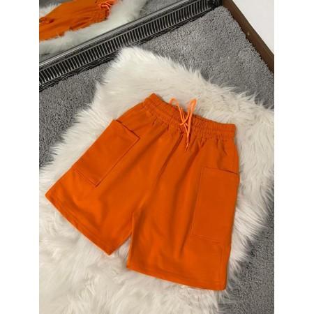 Pantaloni scurti dama orange casual din bumbac