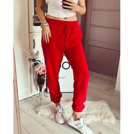 Pantaloni dama bumbac rosii lungi cu buzunare